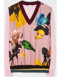Paul Smith - Pink 'Rose' Print Wool Jumper - Lyst
