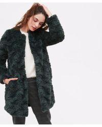 Hartford - Vani Faux Fur Green Coat - Lyst
