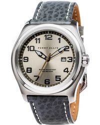 Perry Ellis - Memphis Grey Leather Watch - Lyst
