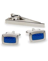 Perry Ellis - Blue Rectangle Cufflink And Tie Bar Set - Lyst