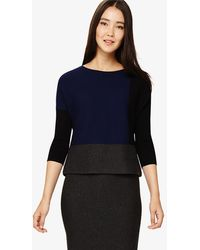 Phase Eight - Robin Colour Block Knitted Top - Lyst