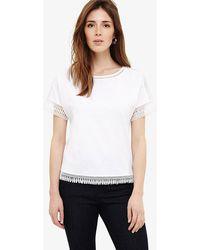 Phase Eight - Laurel Cotton Lace Trim T-shirt - Lyst