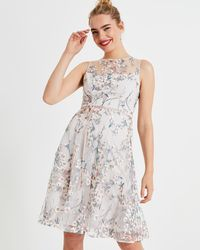 Phase Eight - Maddy Fit And Flare Embroidered Dress - Lyst