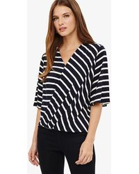 Phase Eight - Willa Wrap Front Stripe Top - Lyst
