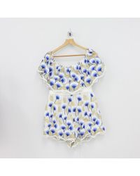 72e5f280b0 Forever Unique - Deep Frill Lace Play Suit Blue - Lyst