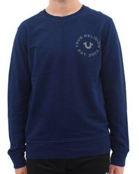 True Religion - Crafted With Pride Sweat Navy - Lyst