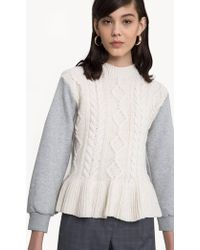 Pixie Market - Siena Cable Knit Sweatshirt Sleeve Top - Lyst
