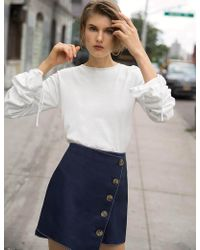 Pixie Market - Ivory Ruched Sleeve Knit Top - Lyst