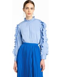 Pixie Market - Double Ruffled Sleeve Shirt - Lyst