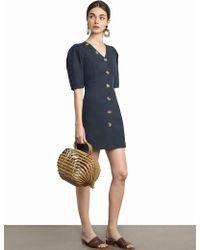 Pixie Market - Luna Button V Linen Dress - Lyst 80238e7ac
