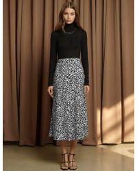 Pixie Market - Rene White Leopard Silky Skirt - Lyst