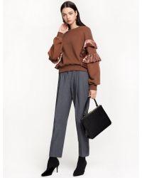 Pixie Market - Velvet Ruffled Sweatshirt - Lyst