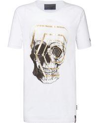 "Philipp Plein - T-shirt Black Cut Round Neck ""trouble"" - Lyst"