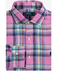 Ralph Lauren - Linen Check Shirt Pink/navy Multi - Lyst