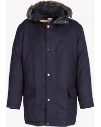 Paul Smith - Wool & Down Parka With Fur Trimmed Fixed Hood Navy - Lyst