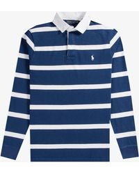 Ralph Lauren - Bar Stripe Rugby Shirt Navy/white - Lyst