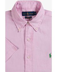 Ralph Lauren - Ocean Washed Linen Short Sleeve Shirt Carmel Pink - Lyst