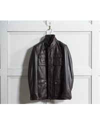 BOSS - 'gembu' Lamb Nappa Leather Field Jacket With Removable Fur Collar Brown (damaged) - Lyst