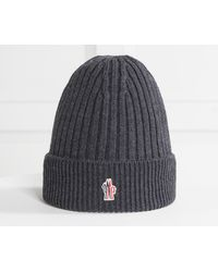 093441d3226 Moncler Grenoble Ribbed-knit Wool Beanie Hat in Blue for Men - Lyst