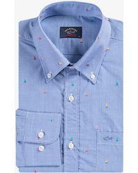 Paul & Shark - Micro Gingham Boat Shirt Blue - Lyst