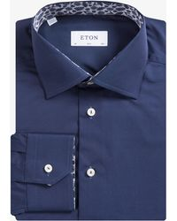 Eton of Sweden - Slim Fit Palm Print Detailed Shirt Navy - Lyst