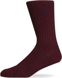 Pockets - Ralph Lauren Ribbed One Size Sock Burgundy - Lyst