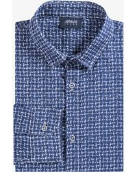 Armani Jeans - Printed Grained Check Shirt Navy - Lyst