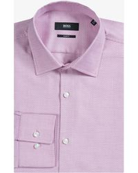 BOSS - 'jenno' Slim Fit Zig Zag Printed Shirt Pink/salmon - Lyst