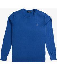 Ralph Lauren - Slim Fit Cashmere Cotton Blend Crew Neck Knit Blue Legacy - Lyst