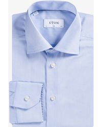 Eton of Sweden - Essentials Slim Fit Plain Formal Shirt Blue - Lyst