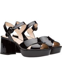 d2c7c8a96bac Lyst - Prada Ankle-strap Platform Sandals in Black