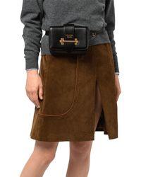568e14e1152c Prada Black And Blue Studded Strap Belt Bag in Black - Lyst