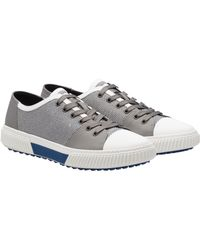 Prada - Technical Mesh And Leather Sneakers - Lyst
