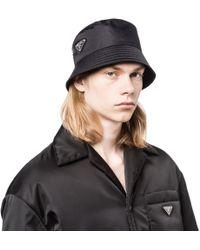 Lyst - Prada Logo Hat in Black for Men e6a3d917776
