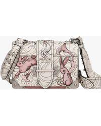 44f858030f1 Prada - Cahier Printed Leather Bag - Lyst