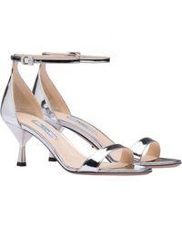 bcc0ceafb65e Prada - Women s Metallic Ankle Strap Sandals - Silver - Size 41.5 (11.5) -
