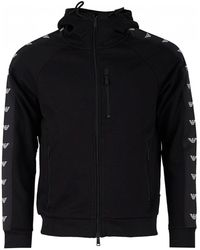 Armani - Taped Zip Through Hooded Top - Lyst