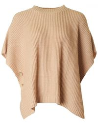 Armani - Knitted Button Detail Poncho - Lyst