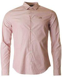 Armani - Aj Logo Slim Fit Melange Shirt - Lyst