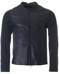 Emporio Armani - Supersoft Calf Leather Jacket - Lyst