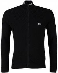 BOSS - Athleisure Zodney Full Zip Textured Cotton Knit - Lyst