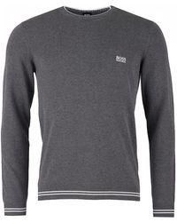 BOSS - Rimex_w18 Cotton Jumper, Mid Grey Melange Jumper - Lyst