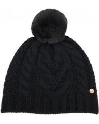 Lyst - Ted Baker Cable Knit Bobble Hat in Green a90ea96f1a9d
