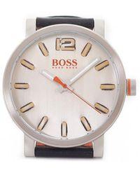 BOSS Orange - Bilbao Leather Strap White Face Watch - Lyst