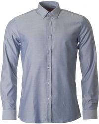 HUGO - Elisha Herringbone Slim Fit Shirt - Lyst