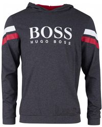 6f80d2ea0 BOSS by Hugo Boss Authentic Zip Through Hooded Sweat in Gray for Men - Lyst