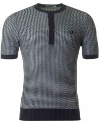 Fred Perry - Two Colour Button Neck Knit - Lyst