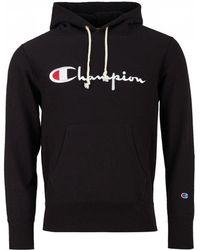 87440d62e813 Champion - Script Logo Reverse Weave Fleece Lined Hoodie - Lyst