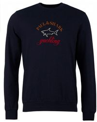 Paul & Shark - Embroidered Logo Crew Neck Sweat - Lyst