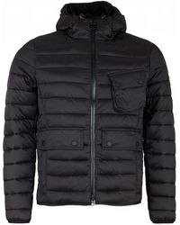 Barbour - Ouston Black Hooded Quilt Jacket - Lyst